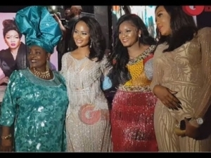 Video: Omotola Dances For King Sunny Ade As The Legend Sings and Hails Her At Her 40th Birthday Party